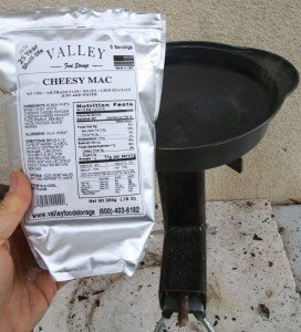 This full package of Cheesy Mac is a great easy road meal for a family of 4. Boiling over a quart of water and cooking the pasta to done takes a while with sticks and leaves, but it does work, and it is all you need.