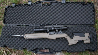 This is the new Springfield M1A Loaded with a polymer Precision Stock. It comes with this case that is large enough to accommodate the rifle with a scope.