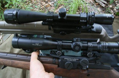 These are the two mounts next to each other.  I first tried this rifle with the Leatherwood 1200, but I did my accuracy tests with the Burris Veracity First Focal Plane scope that I stole off of the wood gun. It is a really sweet scope.