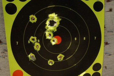 The gun produces a reasonable spread in its stock configuration.