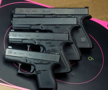 The G40 is a beast. Up against some of the other GLOCKs, the 40 shows its size.