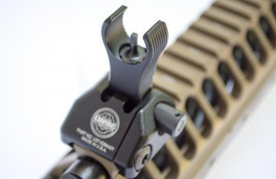 The LWRC flip up sights are outstanding.