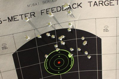 Dialing it in from 200 yards. As you can clearly see, I was hitting high.