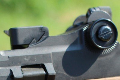 This block in front of the peep sight silde out of the doevtail to allow for a scope mount to be installed.