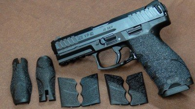 The ergonomics of the HK VP pistol is already the stuff of legend. Customizable grip panels help tailor the gun to the shooter. The author also likes the rubberized Talon grip for better friction.