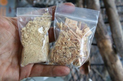 James' Fatwood Dust, also known as Maya Dust, and the Fatwood Shavings.