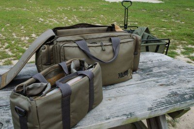 The author arrives at the range like a vacationing pack rat. The bag is from Midway USA, and is a great value.