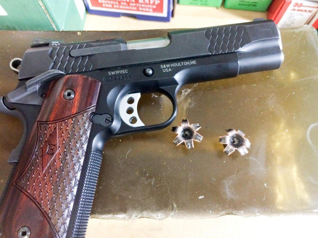 The Commander-sized SW1911 Sc generated excellent expansion and penetration results with both the Barnes TAC-XPD ammo (shown) and the Federal HST.