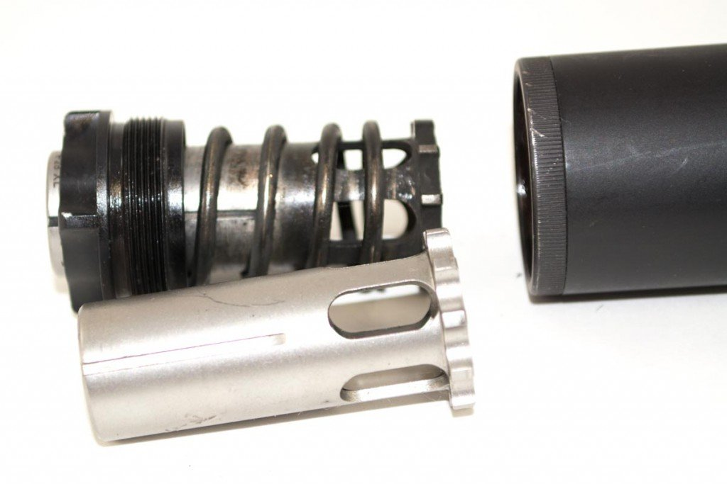 Most suppressors can work on smaller caliber guns with similar pressures. Here, the pistons are interchangeable for different handgun calibers.