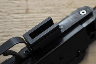 This section of rail guides the grip/stock combo's travel.