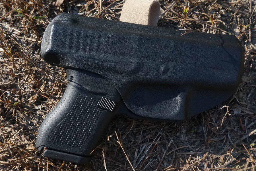 The holster is designed to be tight, but the gun is easy to pull free.