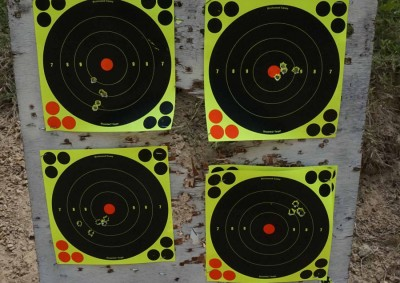 These shots were made with the red dot and the arm brace. Not bad for an AK pistol, but surgical accuracy is hardly the point.