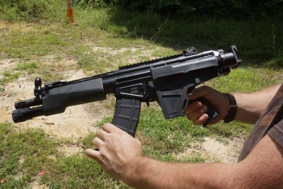 Mag changes are not as graceful as they could be on a SBR or full sized rifle, because you have to support the weight with one hand.