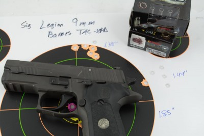 The Barnes TAC-XPD 9mm +P shot a number of five-shot groups under two inches.