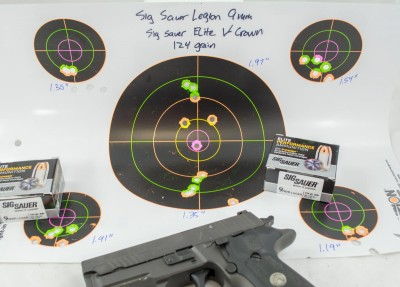 All (6) five-shot groups using Sig Sauer's 124 grain V-Crown load came in at less than two inches.
