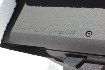 The receiver of the 870P is marked Police Magnum.