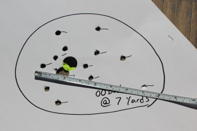 The sread from buckshot at 7 yards.