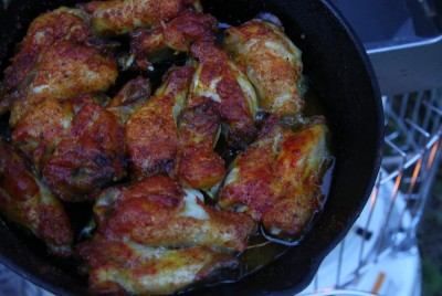 There was no off taste to the chicken wings I cooked.  I wish I had tried a dutch oven, but I really need to do a whole article on how to use dutch ovens.