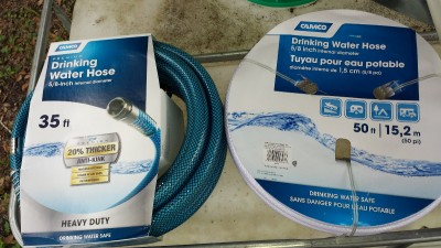 Note that you should not use a regular garden hose for drinking water. The rubber releases poisonous compounds. Look for white and blue RV water hose at Walmart and Home Depot.