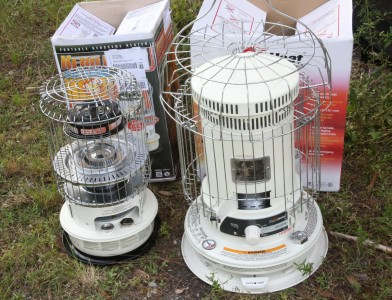These heaters are currently under the brand Kero-World, and cost generally under $150.  The larger one on the right holds 2 gallons and burns 9-12 hours. The one of the left holds just over 1 gallon and burns 12 hours.