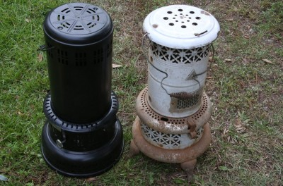 Except for the military H-45 stove that I reviewed about a year ago, all kerosene heaters, old and new, use wicks. These are Perfection heaters, some of them from the 1800s, and they are not much different from the new models.