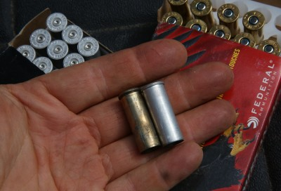 One of the advantages of the .44 Mag is that it can be reloaded many times if you keep the pressure down, and it doesn't need to be trimmed. But beware, the aluminum Blazer cases can't be reloaded.