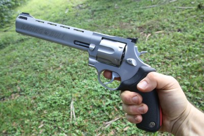 I am now the proud owner of a full sized, 8 3/8ths inch Taurus Model 444 Raging Bull. It's always been a cool gun, but Taurus as a company has come a long way as a company in the past few years and I think this gun is the best buy in a .44 Mag revolver, even if you're not on a budget.