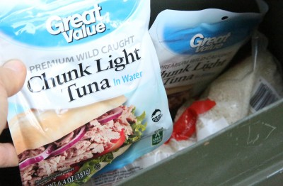 Mylar pack tuna is cheap and takes up little space.