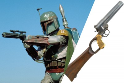 The 37mm flare gun was adapted to make the EE-3, the standard blaster of the Mandalorian Protectors.