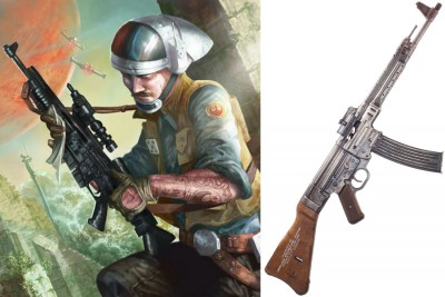 An illustrated A280 blaster in the caring hands of the Rebel Alliance. These blasters were based on the StG 44.