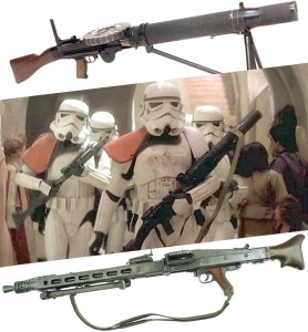 Allied and Axis machine guns were transformed into the heavy blaster rifles of Star Wars.