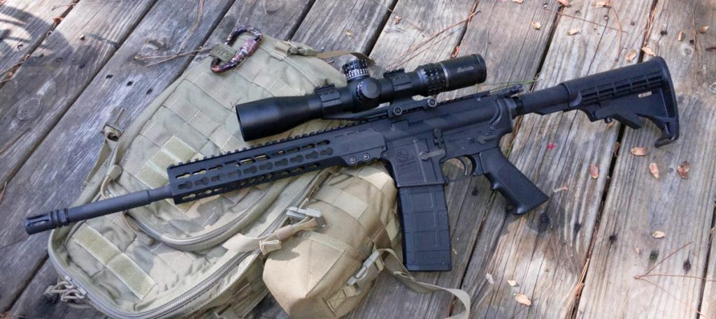 The Armalite M-15 Light Tactical Carbine. I added the big Burris XTR II for accuracy testing.