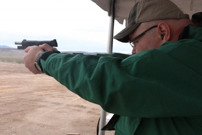 Another shot of Jon shooting the Republic Forge 1911.