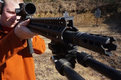 At just over 8 pounds, the rifle is still easy enough to run form the shoulder.