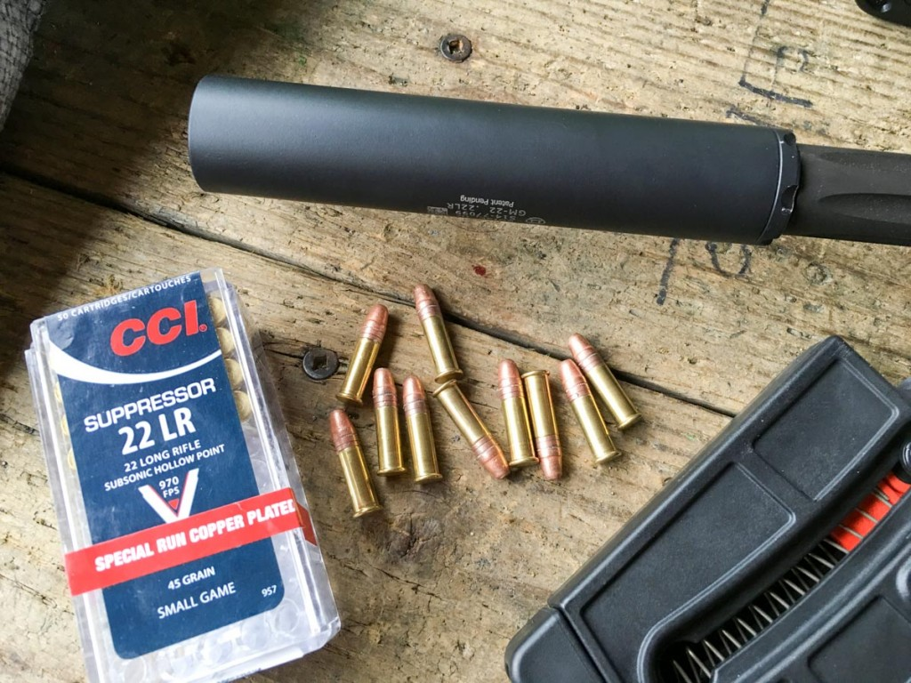 The GM-22 was a great fit for the Smith & Wesson M&P 15-22 Performance Center. The loudest noise when shooting this CCI Suppressor ammo was the bolt closing.