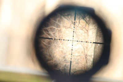 The Mil=Dot reticle of the Nikko Sterling.
