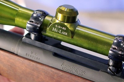 The Hi-Lux version of the old Redfield was mounted to an original M40 sniper rifle which is a bull barreled Remington 700 in .308.