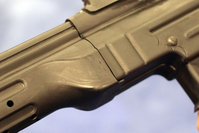 If you want to change calibers, you remove the barrel under here, like you would on an AR.