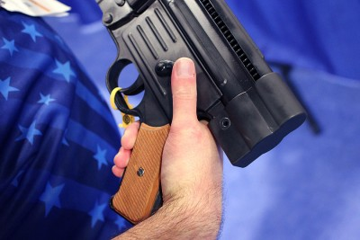 The selector on the pistol.