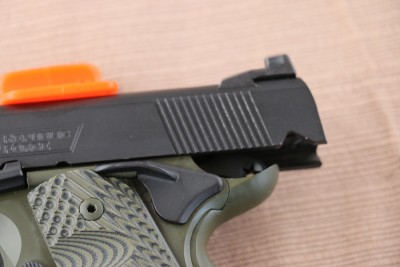 You'll notice the corrugations on the back of the slide for improved grip.