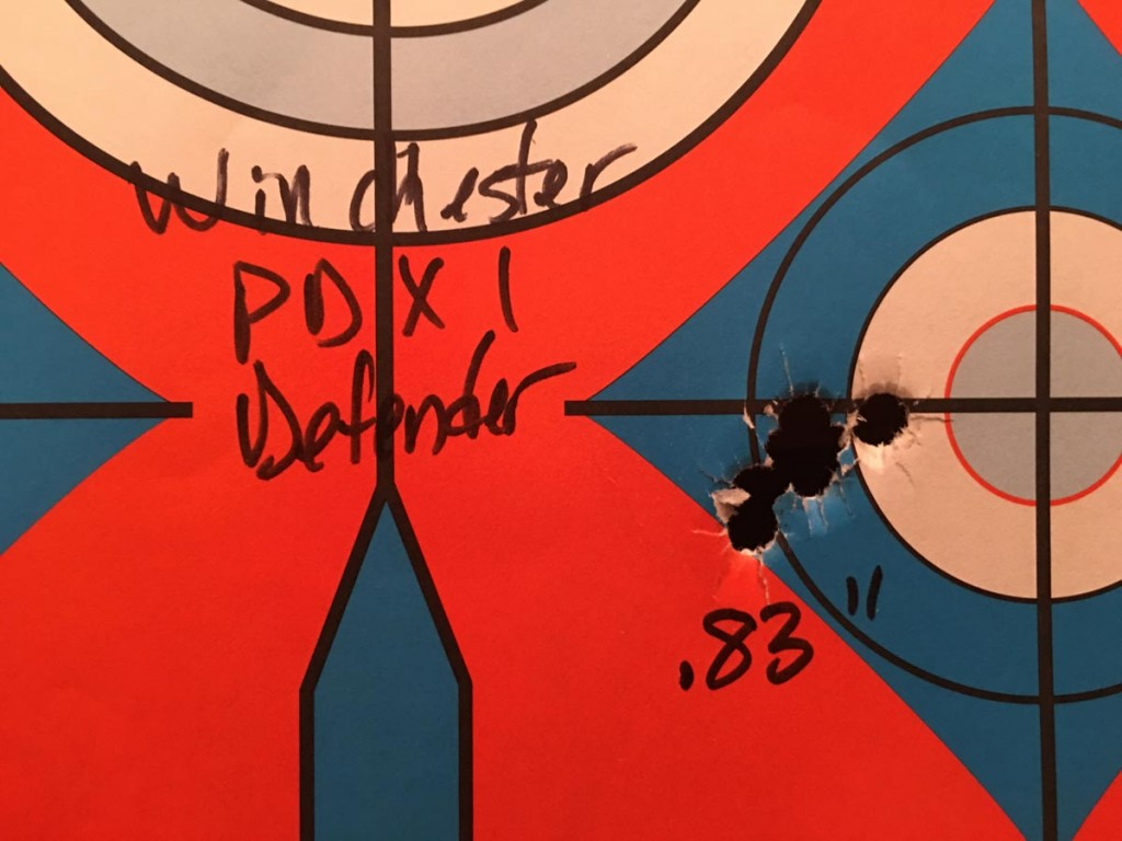 I got consistent groups with all ammunition tested, but this five-shot group of Winchester PDX1 Defender was the tightest of the day.