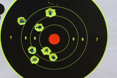 Seven single shots from the holster.