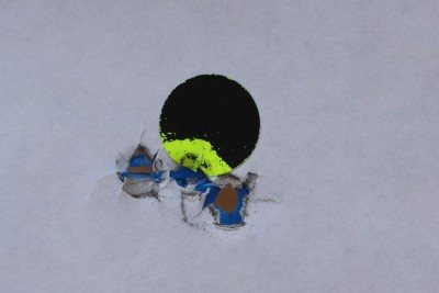 Shooting dots is a great way to dial in the sights. 3 shots from 7 yards.