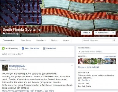 """I am a member of what is now the South Florida Sportsmen board, but the URL is still SouthFloridaGunTraders, and it still says """"This group is for buying and selling guns and ammo."""" Like Facebook doesn't know that guns are still being listed for sale. If you click to make it bigger, you'll see that the board is now """"Secret,"""" which means that the natural churn on Facebook will eventually kill it.  But the bigger picture is that posting guns for sale in a certain town with your real name was really risky to begin with. GunsAmerica has been wrestling with Free Local for years, and it is the best thing for everyone, now completely FREE to all."""