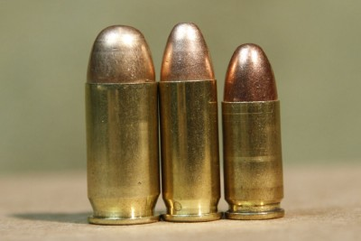 Left to Right .45ACP .38 Super 9mm (notice case length)
