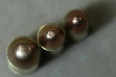 Left to Right .45ACP .38 Super 9mm (Notice diameter)