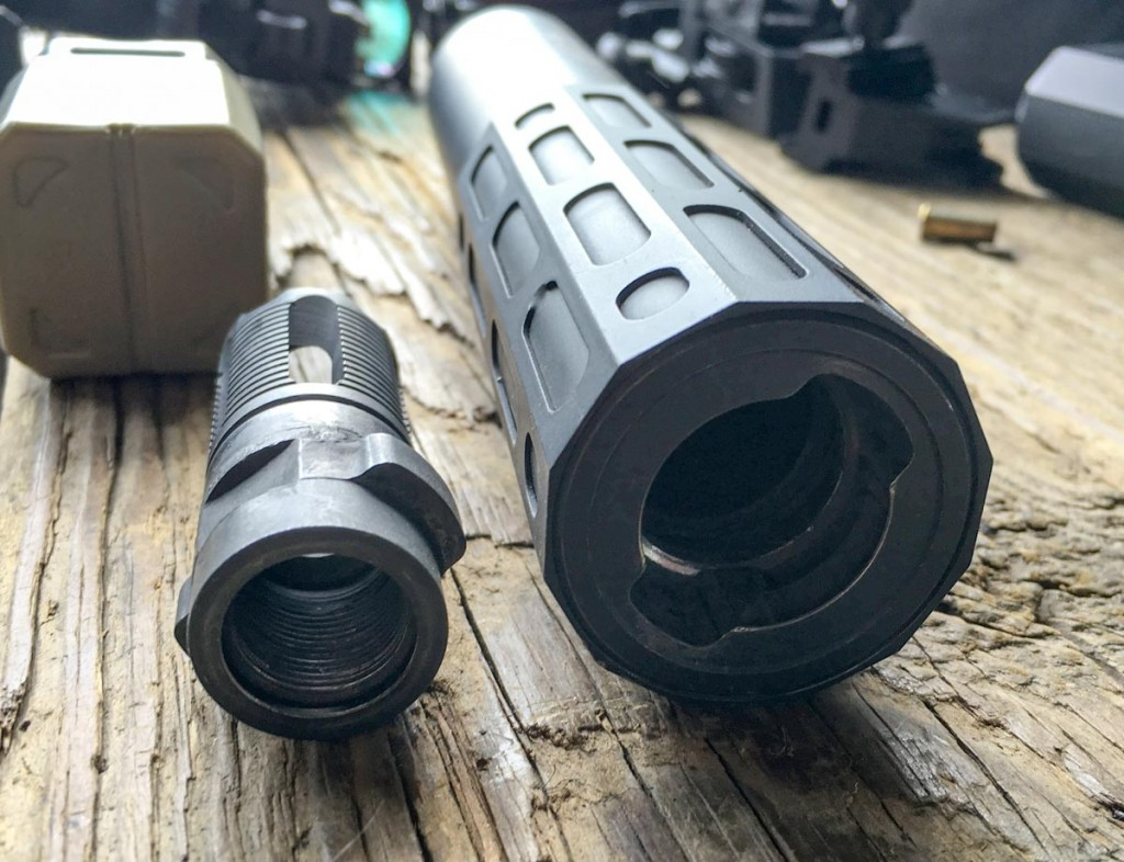 The muzzle devices have lugs to orient and hold the suppressor in place.