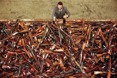 A pile of about 4,500 firearms that were handed over as part of Australia's buyback. (Photo: David Gray/Reuters)