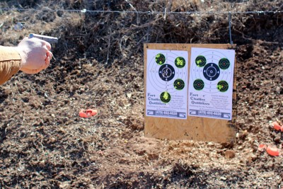 Shooting from about 5 feet from the target.