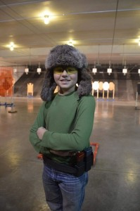 Andrew Yackley, with his favorite hat for winter USPSA pistol league.